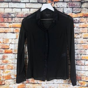 rag & bone Tops - Rag & Bone Black Silk Button Up Semi-Sheer Blouse